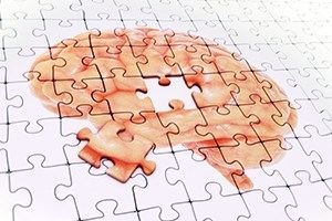 Brain jigsaw puzzle memory concept