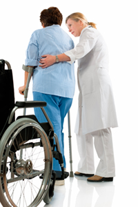 Nurse helps a senior woman