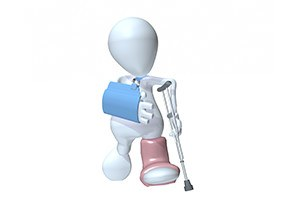 3D man walking on crutches wearing an arm sling and foot cast