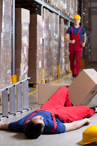 Vertical view of a warehouseman after accident